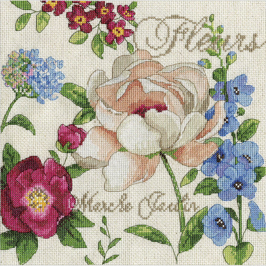 "Marche Jardin Counted Cross Stitch Kit, 10"" x 10"", 14-Count"