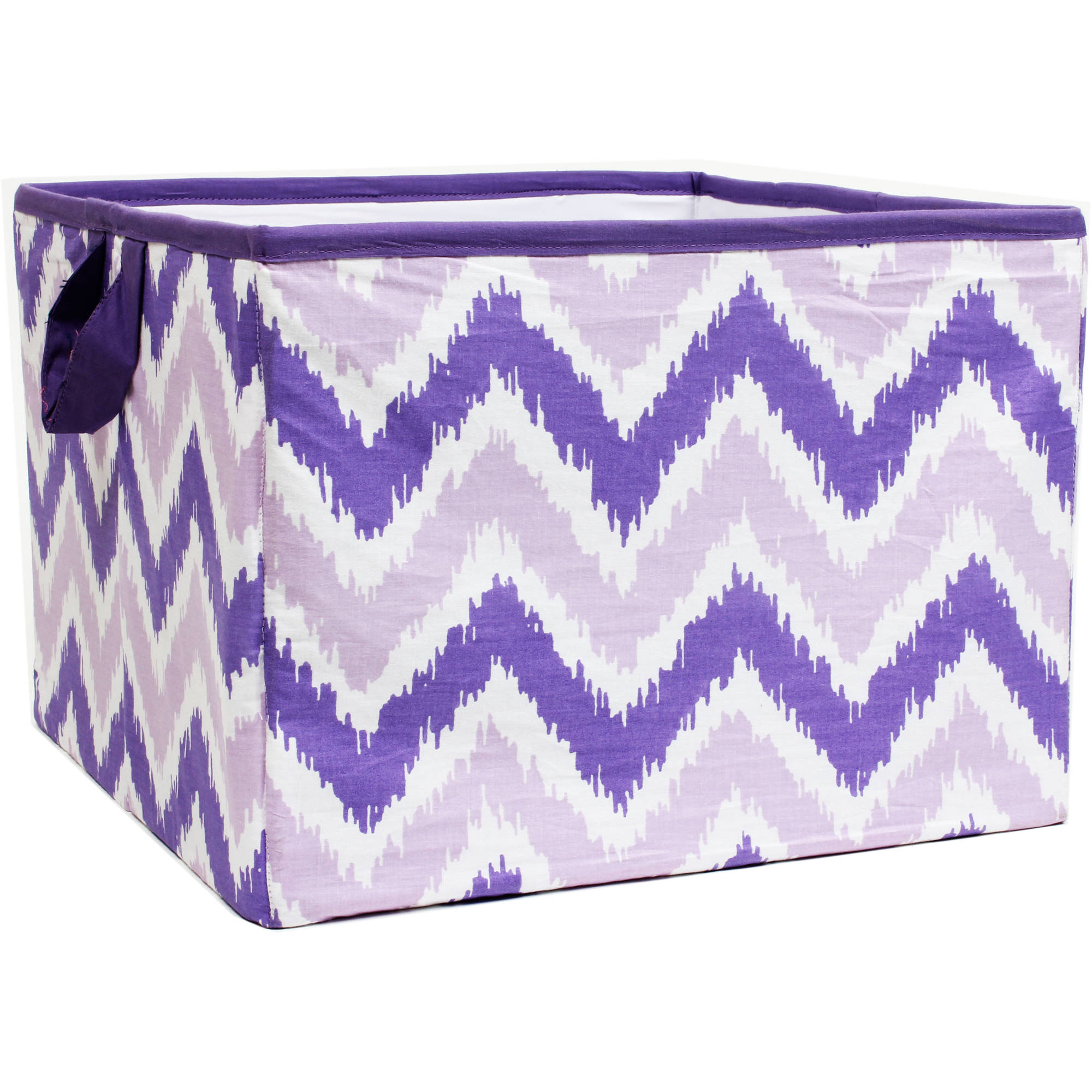 Bacati - MixNMatch Purple Zigzag Cotton Percale Fabric covered Storage, Large Box, 14 x 14 x 10 inches