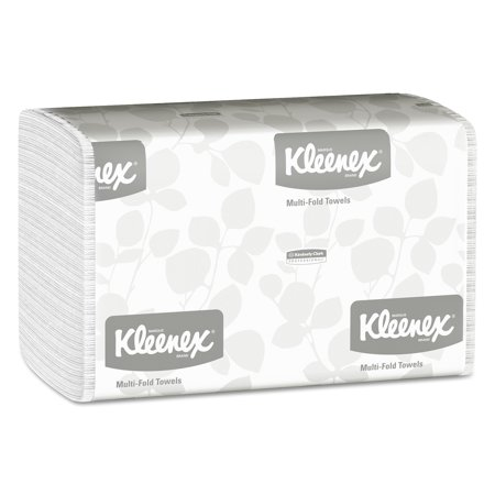Bleached Single Fold Towels - Kleenex Multi-Fold Paper Towels, 9 1/5 x 9 2/5, White, 150/Pack, 16 Packs/Carton