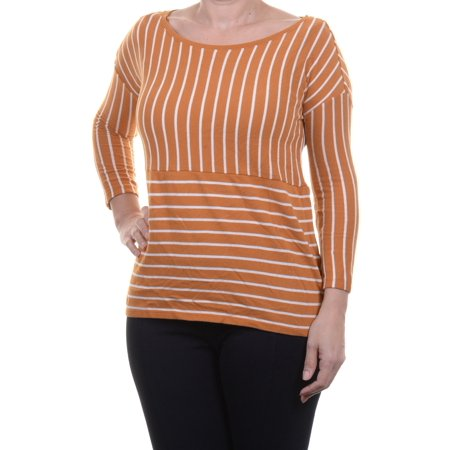 L/s Boatneck (Maison Jules Women's Three-Quarter-Sleeve Boat-Neck Striped Top Size S)