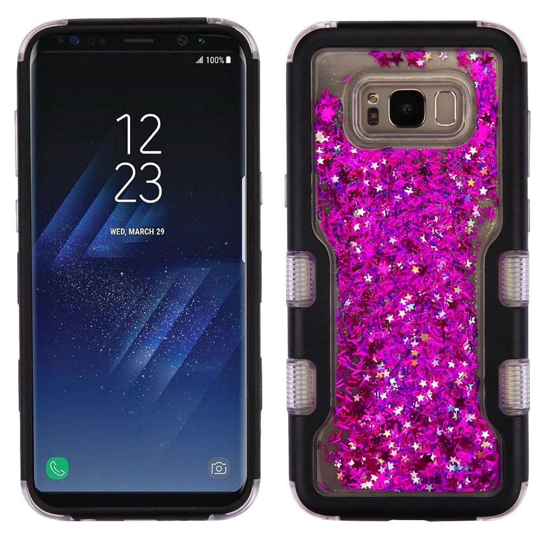 Samsung Galaxy S8 Plus Case, Samsung Galaxy S8+ Case, by Insten Quicksand Glitter Meteor Shower Dual Layer [Shock Absorbing] Hybrid Hard Plastic / TPU Case For Samsung Galaxy S8 Plus S8+, Black/Purple