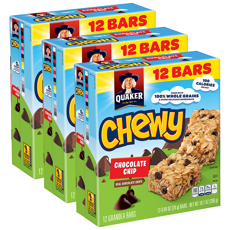 (3 Pack) Quaker Chewy Granola Bars, Chocolate Chip, 0.84 oz Bars, 12 Count
