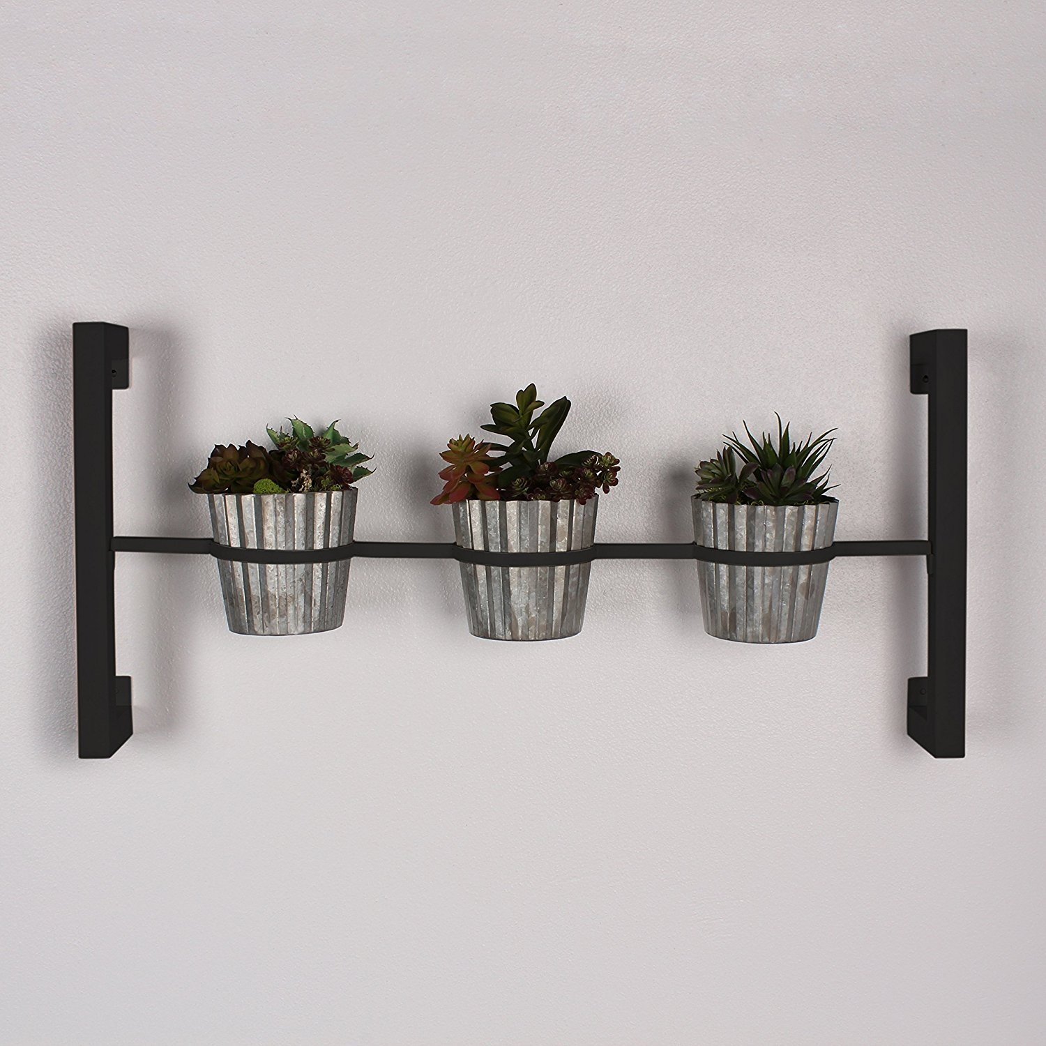 Groves Indoor Herb Garden Hanging 3 Pot Wall Planter Black Walmart Com Walmart Com