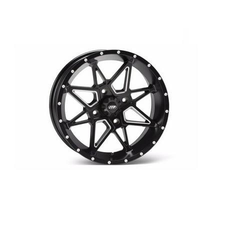 ITP Tornado Milled/Black ATV Wheel Front/Rear 14x7 4/110 - (5+2) [14TN10] (Itp Wheels Atv)