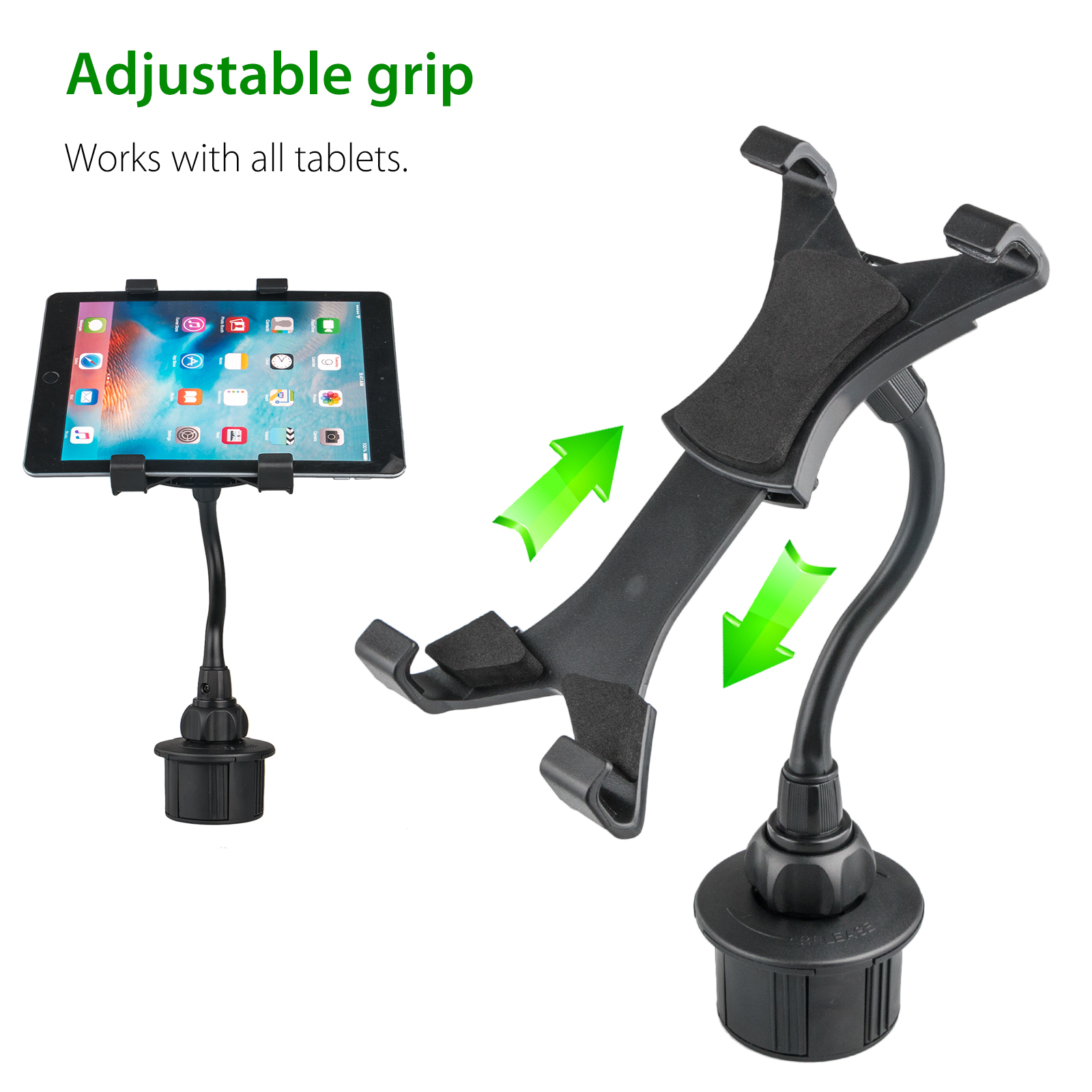 "Adjustable Car Cup Holder Mount for Apple iPad Mini Samsung Galaxy 7/""-10/"" Tablet"
