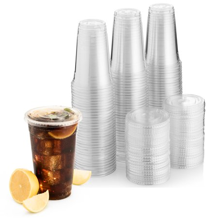 Green Direct 20 oz. Plastic Clear Cups With Flat Lids for Cold Drink / Bubble Boba / Iced Coffee / Tea / Smoothie Pack of 100 Clear Cold Drinking Cup