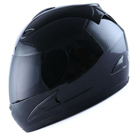 Motorcycle Full Face Helmet Adult Carbon Fiber Black ()