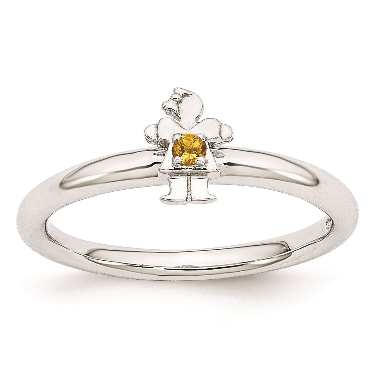 925 Sterling Silver Rhodium Plated Citrine Girl Stackable Ring Size 5