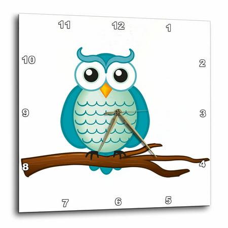 3dRose Aqua Wise Owl, Wall Clock, 10 by 10-inch