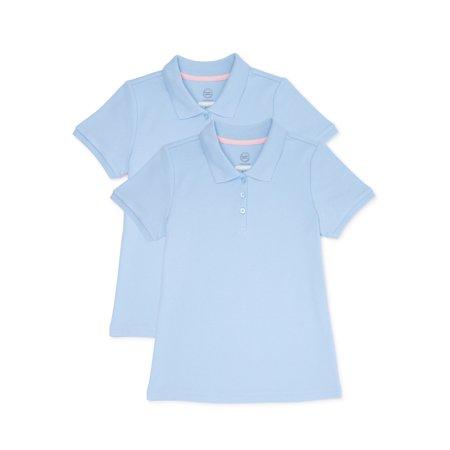 Wonder Nation Girls Plus School Uniform Short Sleeve Interlock Polo Shirt, 2-Pack Value Bundle, Sizes 10-16