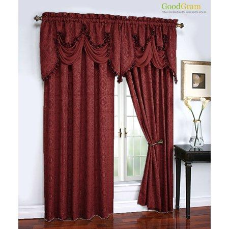 Portofino Raised Jacquard Complete Window Curtain & Onion Fringed Valance Treatments - (Portofino Bedroom Collection)