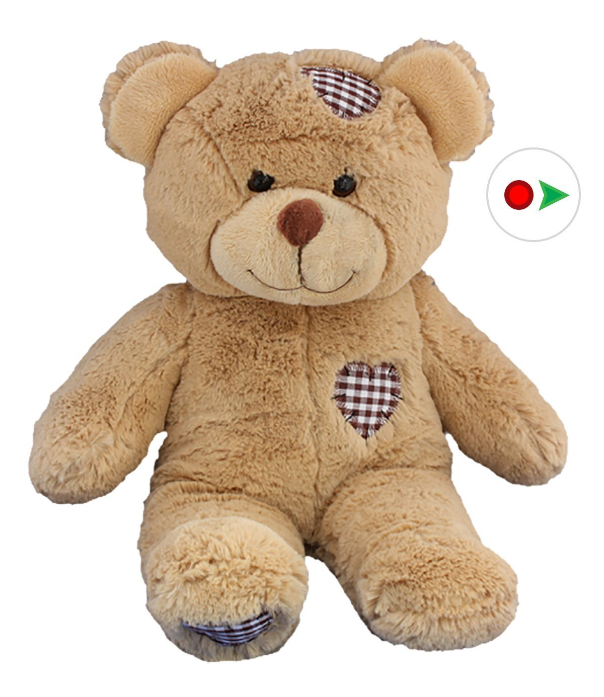 Record Your Own Plush 16 inch Brown Patches Teddy Bear Ready To Love In A Few Easy Steps by Teddy Mountain