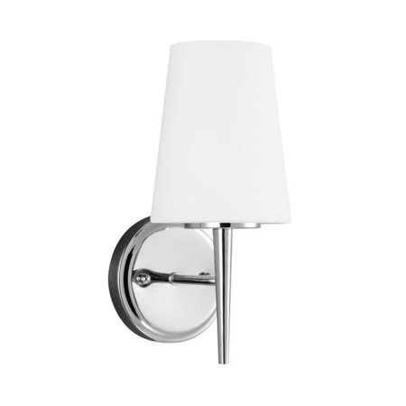 Cased Opal Etched Glass - Sea Gull Lighting Driscoll - One Light Wall Sconce, Chrome Finish with Cased Opal Etched Glass