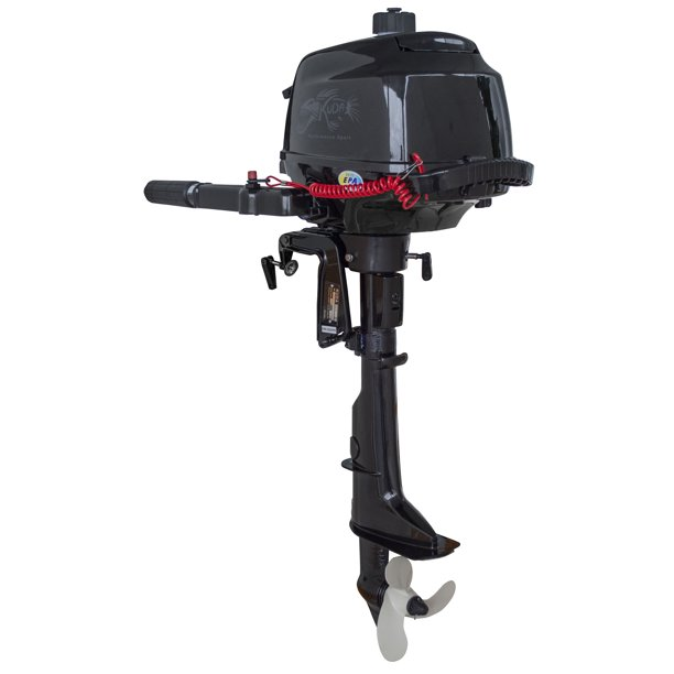 "Kuda 4 Stroke 2.6 HP Horse Power Outboard Motor Tiller 5500 RPM, 17"" Shaft, Recoil Start"