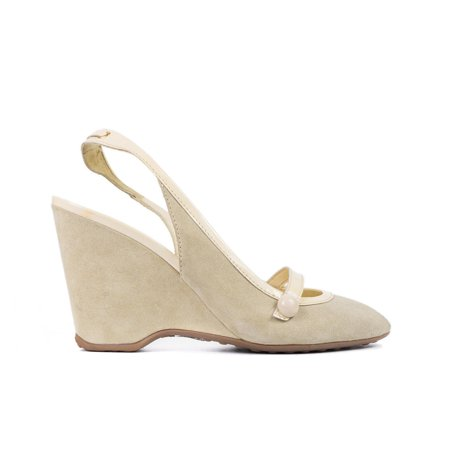 Car Shoe By Prada Women's Beige Suede Patent Leather Wedges