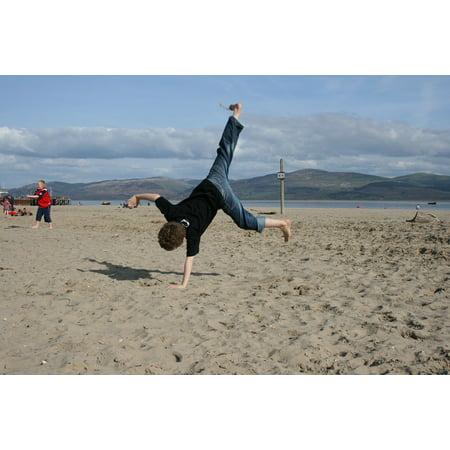 Handstand Framed (LAMINATED POSTER Child Boy Handstand Gymnastics Beach Poster Print 24 x 36 )