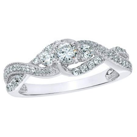 White Natural Diamond Three Stone Twist Ring in 10K White Gold (0.62 cttw)