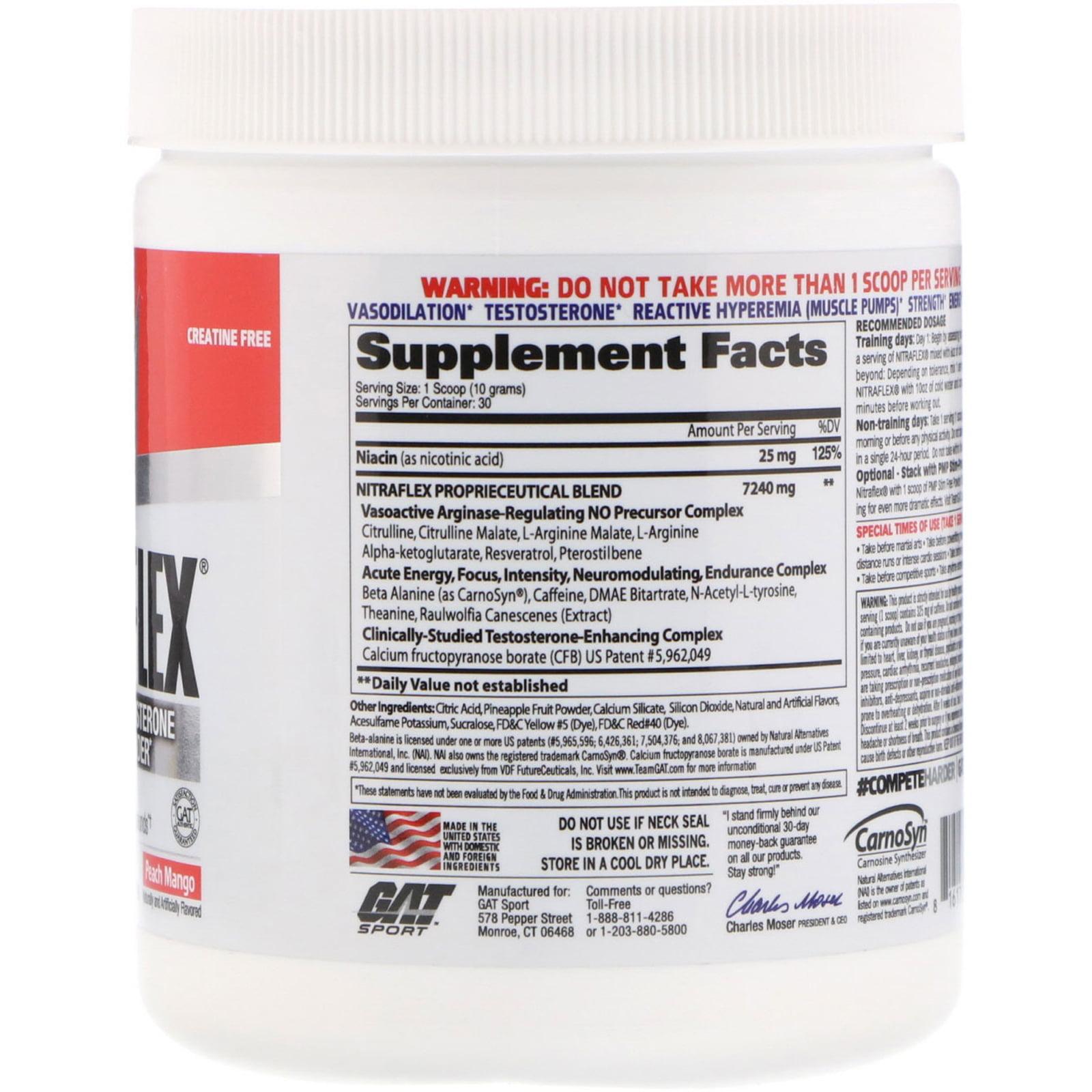 GAT Nitraflex Peach Mango 10 6 oz 300 g