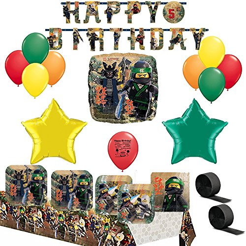 Lego Ninjago Movie Party Supply and Balloon Decoration Bundle