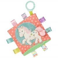 taggies soothing sensory crinkle me toy with baby paper and squeaker, painted pony, 6.5 x 6.5-inches