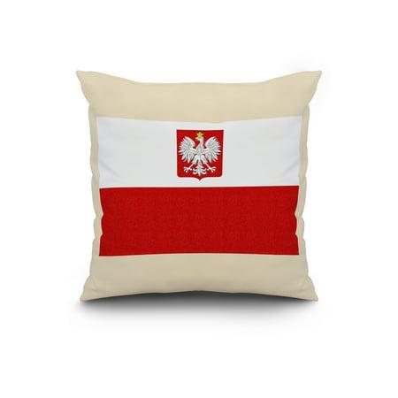 Poland Country Flag Letterpress Lantern Press Artwork 20x20 Spun Polye
