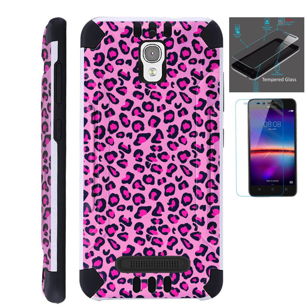 For Coolpad Canvas / Coolpad Splatter Case + Tempered Glass / Slim Dual Layer Brushed Texture Armor Hybrid TPU KomBatGuard (Pink Leopard Skin)