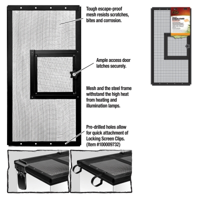 Zilla Fresh Air Screen Cover with Hinge 10-Inch by 20-Inch