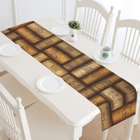 Cloth Table Runner - MYPOP Wine Bottle Cork Table Runner Home Decor 14x72 Inch, Unique Vintage Table Cloth Runner for Wedding Party Banquet Decoration