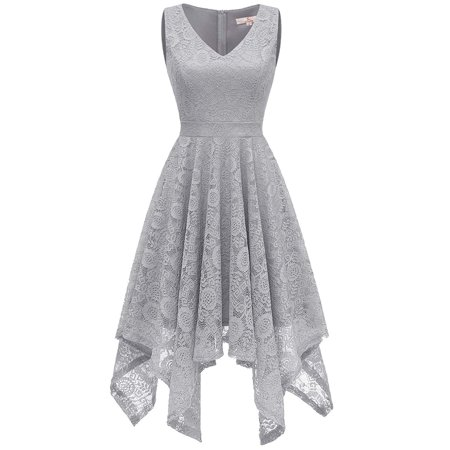 Market In The Box Women's Floral Lace Dress V Neck Asymmetrical Hem Cocktail Swing Dress Midi Dress Homecoming Dress Formal Party Evening Dress ()