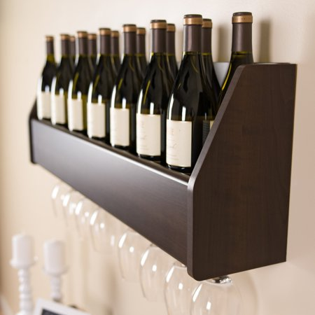 Floating 18-Bottle Wine Rack - Black Wine Rack