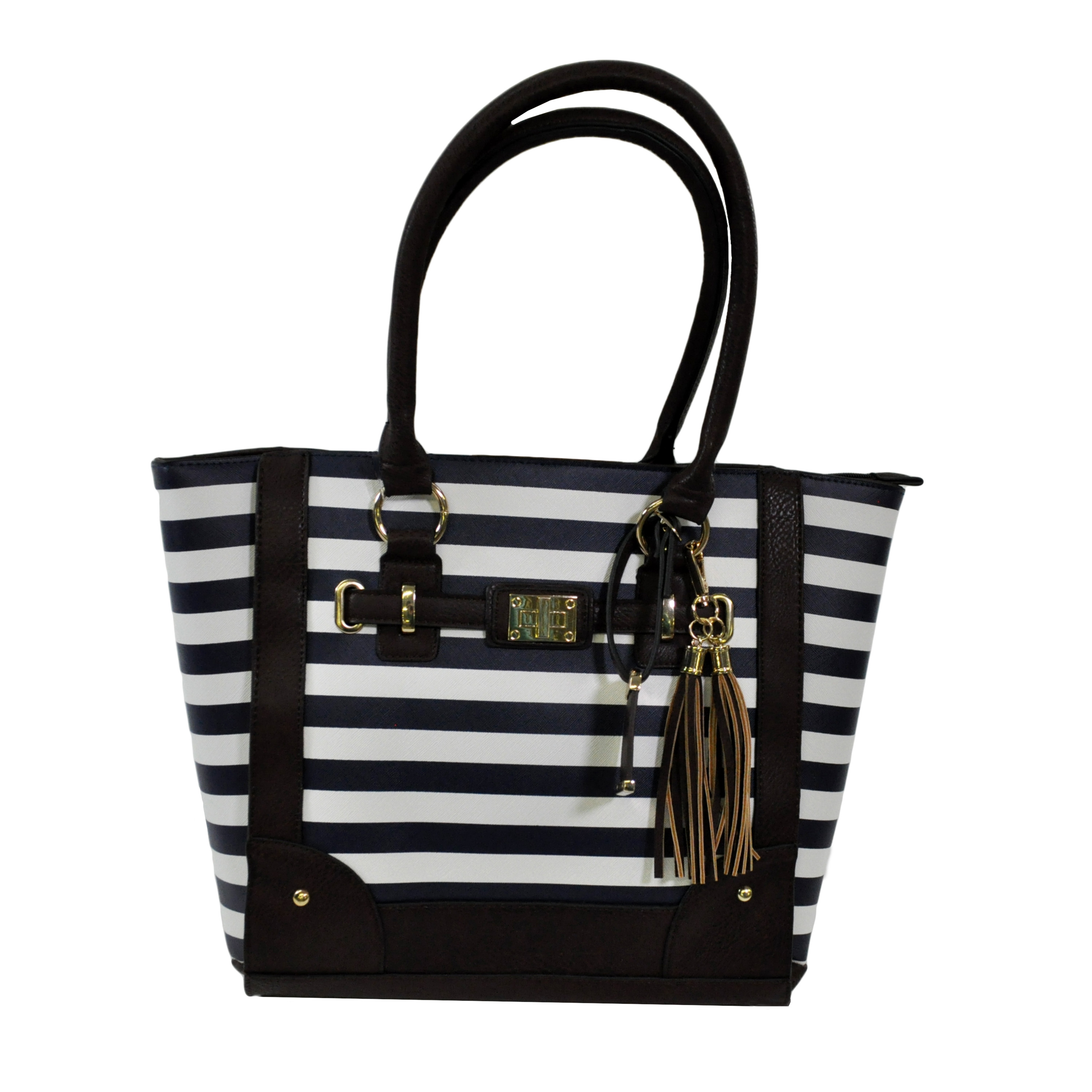 Tote Style Concealed Carry Purse w/ Holster- Navy Stripe (17 x 12 x 5)