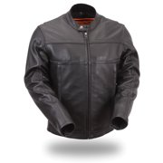 Mens Leather Scooter Jacket With Reflective Piping