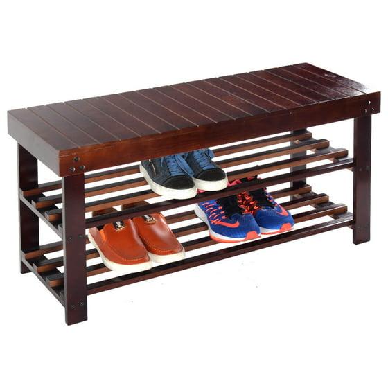 Mudroom Storage Walmart : Costway  solid wood shoe bench storage racks seat