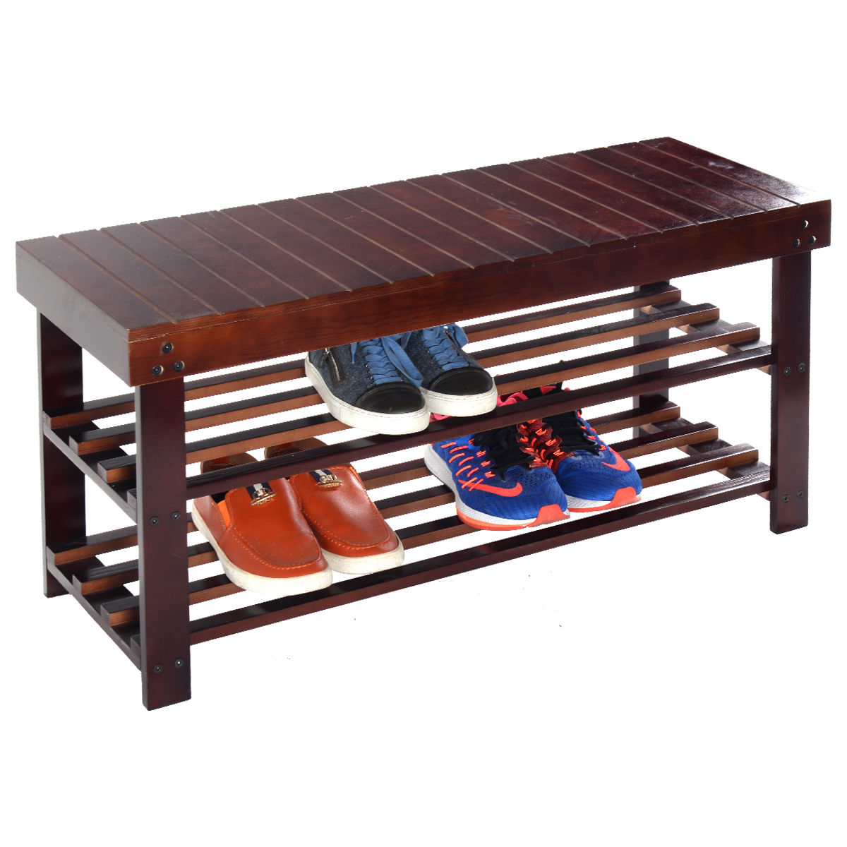 Costway 36'' Solid Wood Shoe Bench Storage Racks Seat Organizer Entryway Hallway Espresso