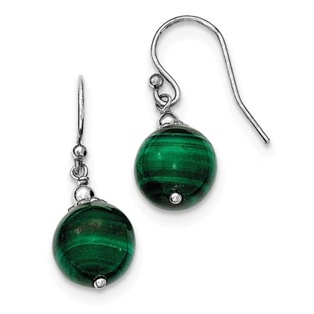 - Sterling Silver Malachite Drop Earrings (1IN Long x 0.4IN Wide)