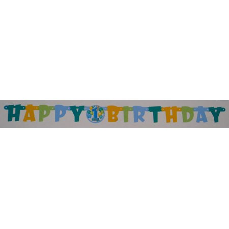 Blue First Birthday Jointed Birthday Banner](First Birthday Banners)