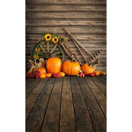 ABPHOTO Polyester Halloween Theme Photography Backdrops Vintage Wood Wall Floor Sunflowers Pumpkins Baby Kids Children Photo Studio Background 5x7ft - Vintage Halloween Photos 1920