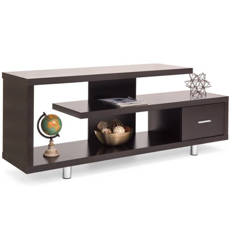 Media Cabinet Finish - Best Choice Products Living Room Home Entertainment Systems Media Console TV Stand Storage Cabinet Display w/ 3 Shelves, Sliding Drawer - Brown