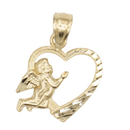 - 10k Solid Yellow Gold Praying Angel in Love Heart Pendant Necklace, Prayer Jewelry for Romantic and Religious Occasions