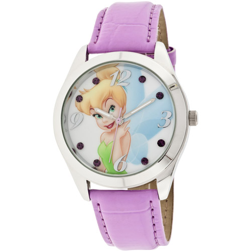 Disney Women's Tinkerbell Lavendar Watch, Iced Croco Strap