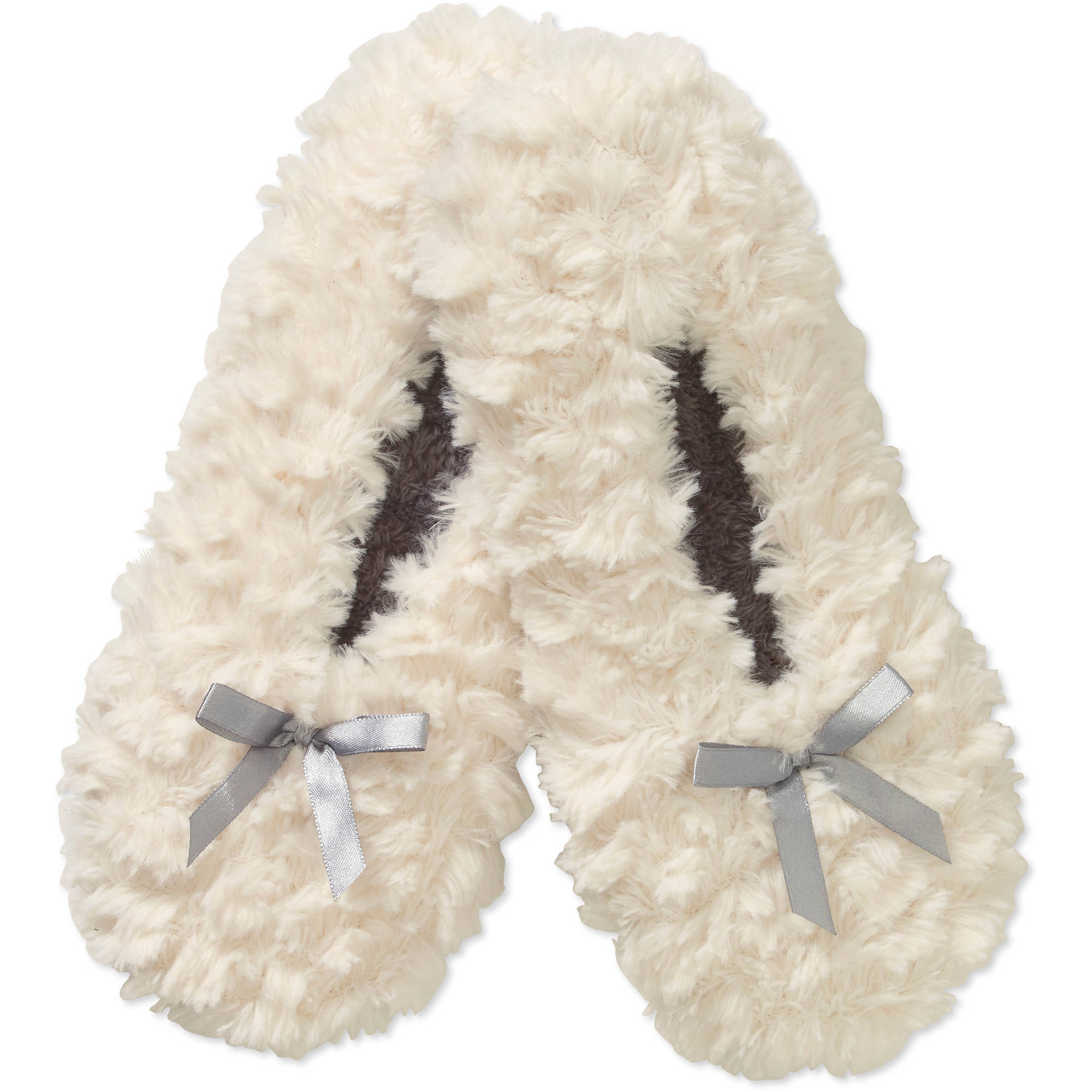 Textured Fur Slipper Socks with Bow