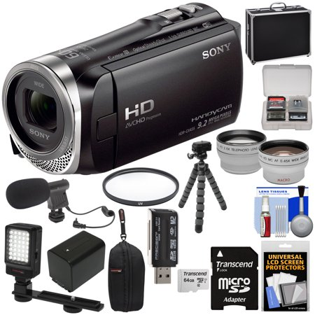 Sony Handycam HDR-CX455 8GB Wi-Fi HD Video Camera Camcorder with 64GB Card + Battery +Charger + Cases + Tripod + LED Light + Mic + Tele/Wide Lens