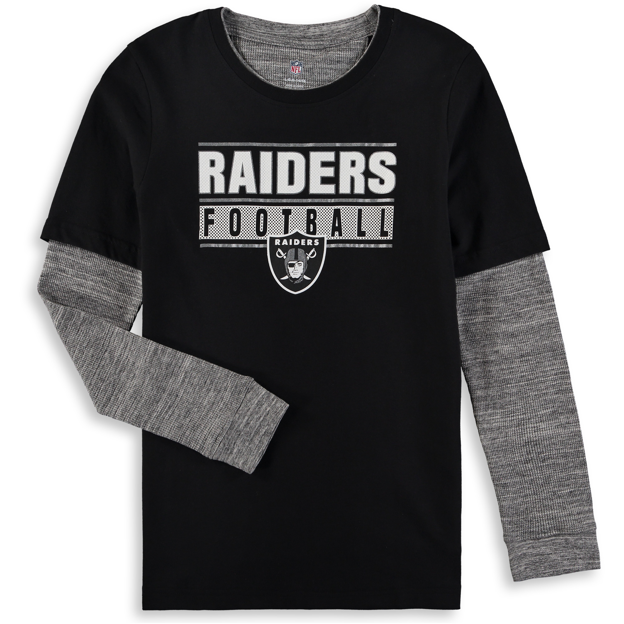 """Oakland Raiders Youth NFL """"Hardy Fan"""" L/S Faux Layer Thermal Shirt"""