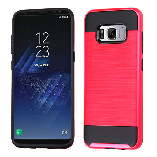 MUNDAZE Red Brushed Metal Double Layered Case For Samsung Galaxy S8 Phone