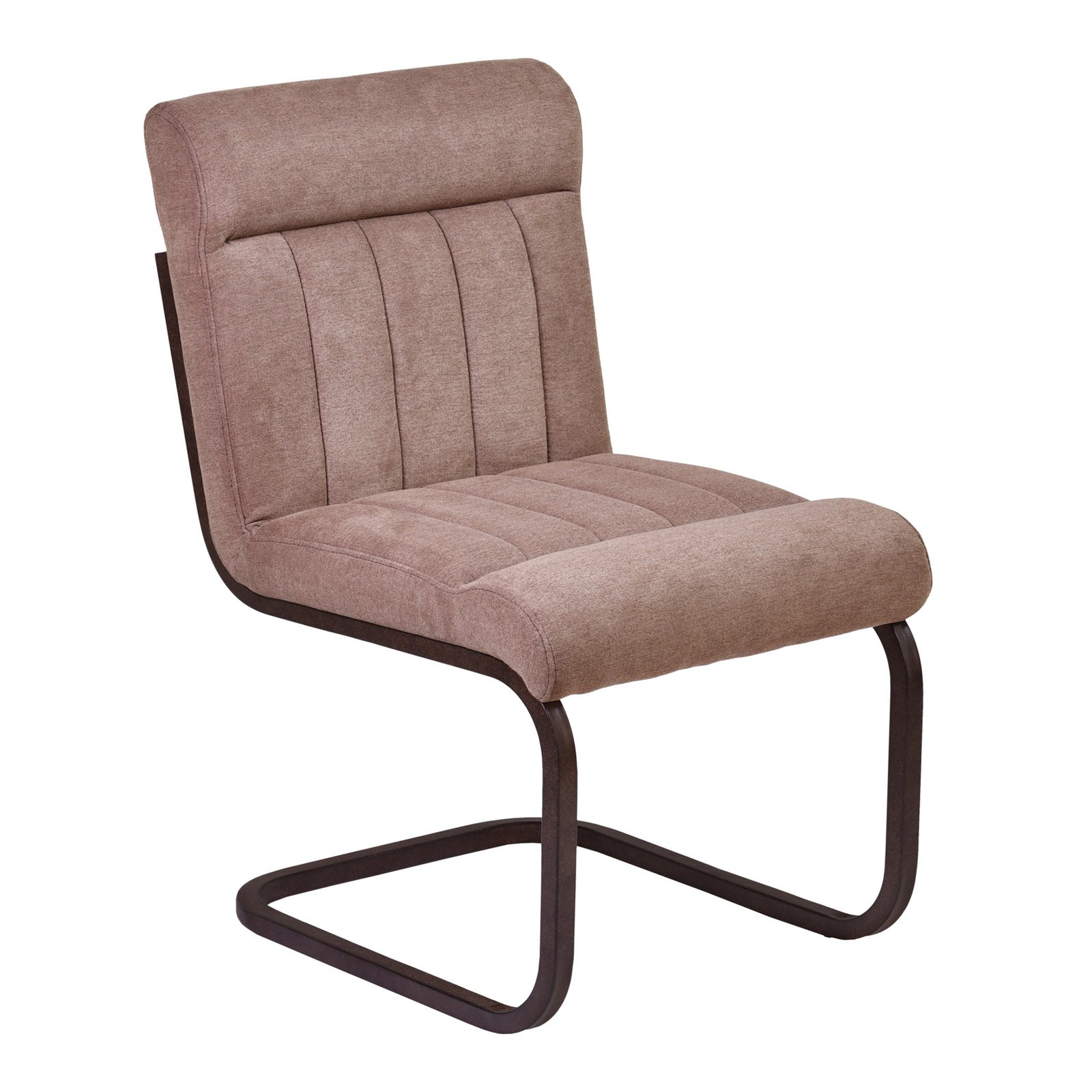 Armen Living Vancouver Metal Side Chair in Auburn Bay and Brown Microfiber (Set of 2) by Armen Living