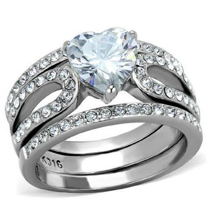 New 316L Stainless Steel AAA Cubic Zirconia Heart Wedding Ring Set Sizes 5 - (Heart Wedding Set)