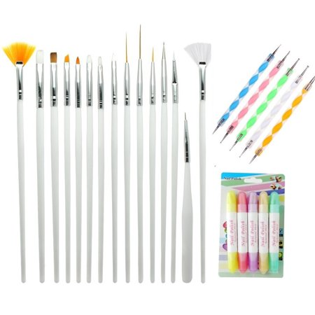 MINI-FACTORY Nail Art Kit, 15 Detail Brushes, 5 Dotting Marbleizing Pen, 4 Polish & Removal Pen Beauty Tool Kit for Nail Art Designs - Halloween Nail Design Tutorials
