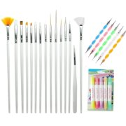 MINI-FACTORY Nail Art Kit, 15 Detail Brushes, 5 Dotting Marbleizing Pen, 4 Polish & Removal Pen Beauty Tool Kit for Nail Art Designs