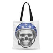 ASHLEIGH Canvas Tote Bag Motorcycle Skull Helmet Vintage Airman Aviation Aviator Beautiful Reusable Shoulder Grocery Shopping Bags Handbag