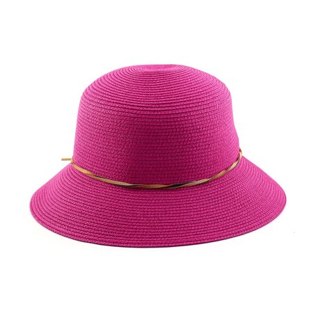 8d4a5d4a Outdoor Travel Flower Decor Wide Floppy Brim Beach Straw Cap Sun Hat  Fuchsia - image 3 ...